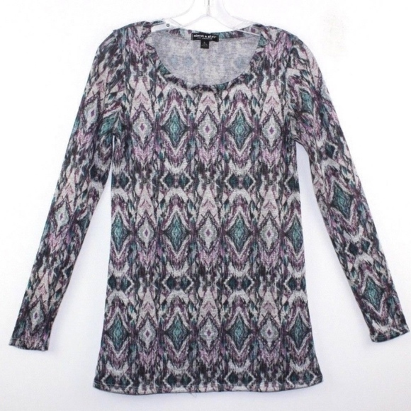 About A Girl Tops - About a Girl Women's Knit Top Ikat Print Large L